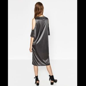 Zara Dresses - NWT ZARA Metallic Grey Cold Shoulder Shirt Dress 7c0daecd2
